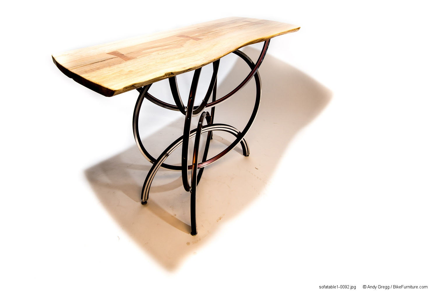 Bicycle wheel live edge wood sofa or entry table by for Bicycle wheel table