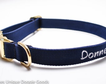 Gold Metal Buckle Personalized Dog Collar - Classic Solid
