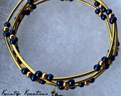 Blue and Gold Color Memory Wire Bracelet - Blue and Gold beaded bracelet - multi strand bracelet - Handmade Jewelry (Ready to Ship)