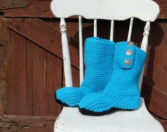 Mukluk style ugg inspired slipper boot hand knit bright blue