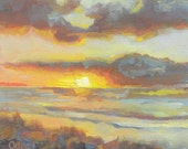 Neskowin Sunset from the Breakers, 6x6, original oil painting