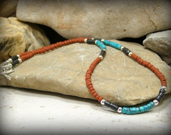 Mens Turquoise Necklace, Heishi Necklace, Mens Beaded Necklace,Tribal Necklace, Native American Style, Southwest Jewelry, Necklace for Men