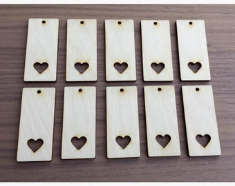 """50 Pieces- Rectangle Pendant with Heart Cut Out 2.25"""" x 1""""  Unfinished Wood Laser Cut Pendant Blanks"""