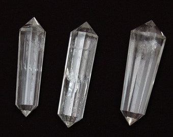 Vogel QUartz crystal - double terminated faceted Quartz crystal point - polished crystal - 2 inch average - wire wrap pendant coyoterainbow