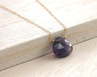 Amethyst Gold Necklace . Purple Amethyst Goldfilled Necklace