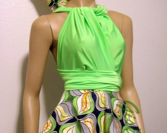 Neon Green/African Print Set | Infinity Convertible Peplum Top | Free Bandeau/Bra And a Pair of Bow-ties | Bridesmaids | With Plus Sizes