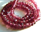 Rhodalite Garnet 3MM Micro Faceted Rondells - 78 Stones - 7 Inch Strand - Gemstone Beads - Semiprecious Stones - Beads