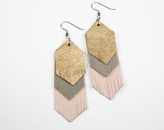 Leather Fringe Earrings - Suede Chevrons (Pale Pink - Gray - Metallic Gold)
