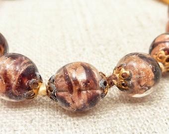 SALE --- Antique Venetian Glass Beaded Galaxy Bracelet