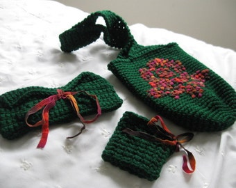 Crochet 3-Piece Tote Bag Set, Small Green Embroidered Ribbon Rose, with Eye Glass Holder and Bracelet Cuff
