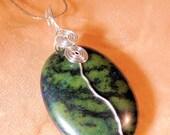 Green Jasper Wire Wrap Pendant, Silver Wire Wrap Pendant, Handcrafted Jewelry, Gemstone Jewelry, Boho Jewelry, Native Style