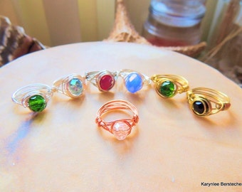 Crystal Wire Wrapped Rings, Choice of Colors, Copper Wire Wrap Rings, Stocking Stuffer, Handcrafted Jewelry