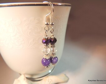 Amethyst and Crystal Earrings, Dangle Earrings, Gemstone Jewelry, Handcrafted Jewelry, Purple and Silver,