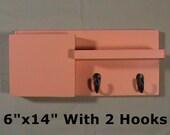 Letter Holder - Mail Organizer - Key Hooks - 2 Hook Coat Rack - Mail Holder - Shelf