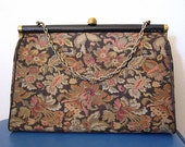 Vintage Black Floral Tapestry Handbag with Chain Handle