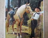 Large Vintage Western Calendar Lithograph * Vintage Glamour Shot * 1963 Calendar Print *