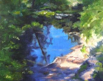 Arizona River, 8x10 Original Oil Painting Landscape near Sedona