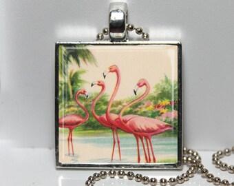 Vintage Florida Postcard PINK FLAMINGOS Altered Art Glass Pendant Charm Necklace