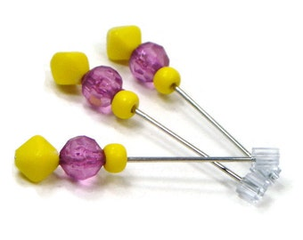Cross Stitch Counting Pins Marking Pins Needlepoint Purple Pink Yellow Bobbin Lace Pins Wedding Corsage Pins Craft Supplies
