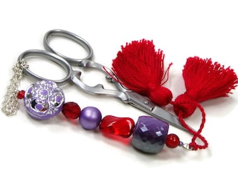 Scissor Fob Red Lavender Purple Scissor Keeper Scissor Minder Quilting Cross Stitch Needlepoint Sewing