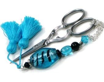 Scissor Fob Scissor Keeper Scissor Minder Aqua Blue Black Quilting Cross Stitch Needlepoint Sewing