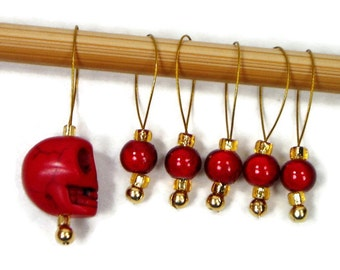 Beaded Stitch Markers Snag Free Red Skull Gold Snagless DIY Knitting Supplies Gift for Knitter Goth Skull