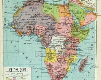 1940 Vintage Map of Africa - Africa Vintage Map - Spanish map