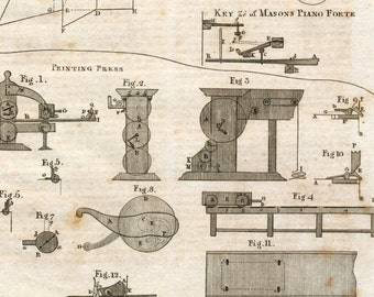 1797 Antique Copper-engraved Plate on Pianos and Printing Presses from the Encyclopaedia Britannica. Plate XI