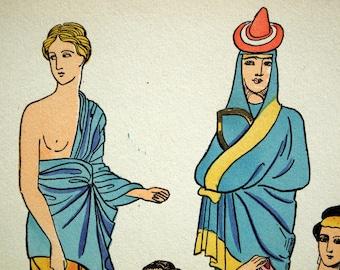 1925 French Art Deco Hand Coloured Pochoir Print of Ancient Greek Women's Fashion. By Paul Louis de Giafferri . Plate 4
