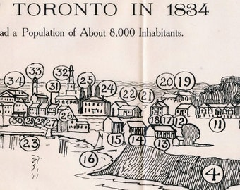 1908 Rare Print of Toronto in 1834
