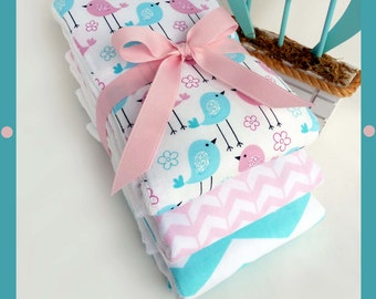 NEW CHEVRON Baby Burp Gift Set BIRDs in BABY Pink and Blue - Premium Full Size Cloth Diaper Burpies - 3 Pack