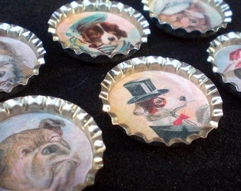 Smoking Dogs Canine Pet Lover Bottle Cap Magnets Set of 6
