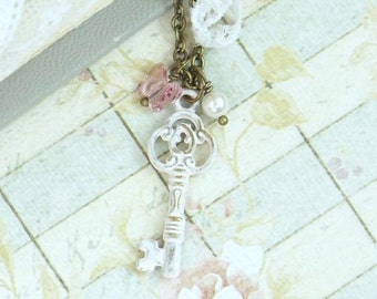 Key Charm Necklace Romantic Jewelry Small Key Necklace Pink Necklace Shabby Chic Jewelry Victorian Key Necklace