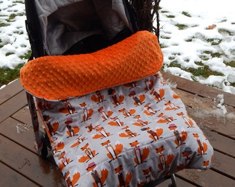 Stroller Footmuff, Stroller Blanket in Foxes and Bow ties fabric by Baby Ellie Designs