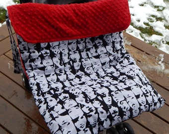 Stroller Footmuff, Stroller Blanket in black and white Faces cotton and red minky fabric by Baby Ellie Designs