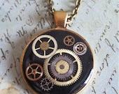 Orbit - Steampunk pendant - Repurposed art