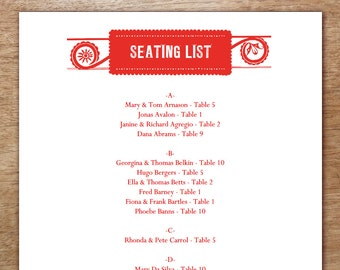 Printable Seating List - Wedding Seating List Template - Instant Download - Seating Chart PDF - Red Folk Art - Mexican Seating List PDF