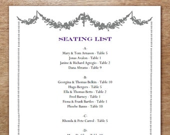 Printable Seating List - Wedding Seating List Template - Instant Download - Seating Chart PDF - Gray Garlands - Gray & Purple Guest List