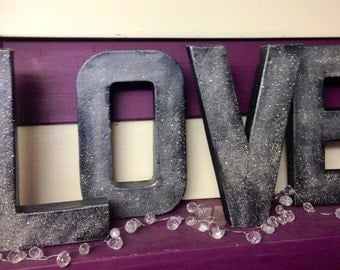 Decorative Letters - Love - Free Standing Glitter Letters Home Decor