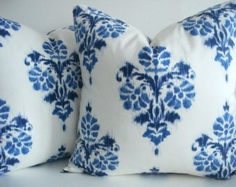 New-Duralee Indigo Ikat -Decorative Designer Pillow Cover-Indigo Blue Ikat Pillow Cover