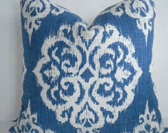 NEW-Indigo/ ivory IKAT - Decorative Designer pillow Cover- Indigo/Ivory  Throw Pillow -Blue Ikat Lumbar
