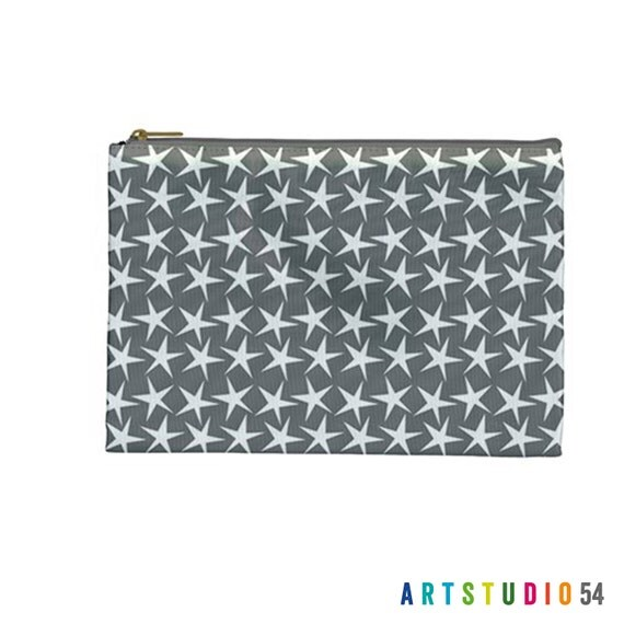 "Stars Grey, White on a Pouch, Make Up, Cosmetic Case Travel Bag - 9"" X 6"" -  Large -  Made by artstudio54"