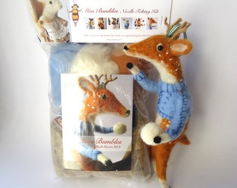 Needle Felting Kit Festive Deer Designed by Miss Bumbles