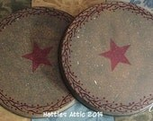Primitive Hand painted Stove Burner Covers--Set of TWO