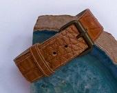 SALE Upper Arm Jewelry - Armlet - Malt Brown Faux Lizard Skin  - Upper Arm Cuff - Upper Arm Bracelet - Upcycled Vintage Belt Buckle Armlet