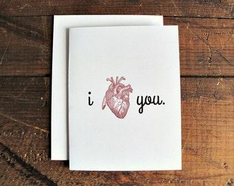 I Heart You - Anatomical Love Greeting Card