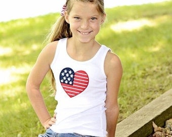 Fourth of July Heart Flag Tank Top sizes 12 months to 12