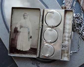 Florence~~Antique Assemblage Necklace Antique Tin Type inside German Silver Coin Holder