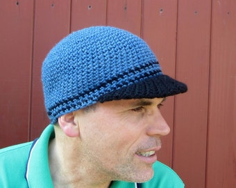 men's visor beanie/ heather blue wool crochet