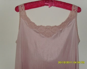 Vintage 70s Long Nightgown Rose Pink, Size Small